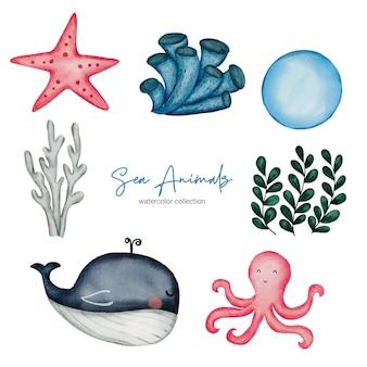 Animaux aquatiques à l'aquarelle. ensemble de jouets pour bébés d'animaux