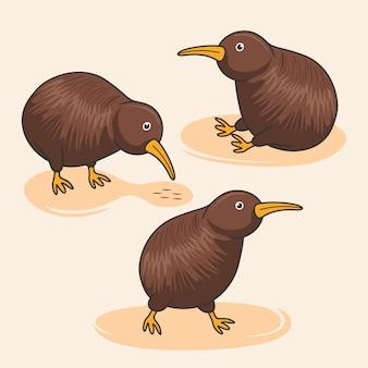 Animaux australiens dessin animé mignon oiseau kiwi