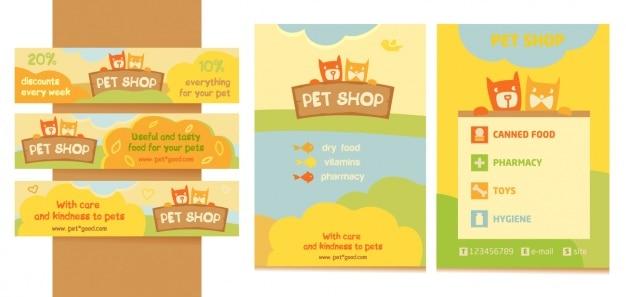 Animaux les bannières de magasins et conception de la brochure
