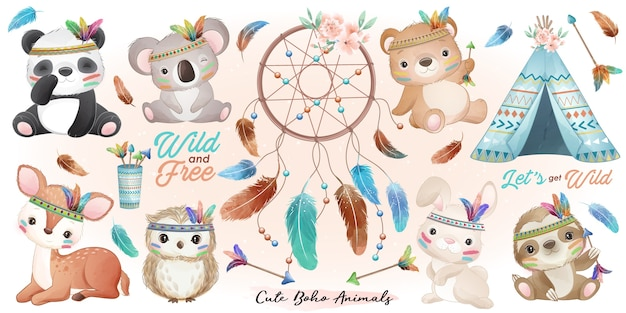 Animaux boho mignons sertis d'illustration aquarelle