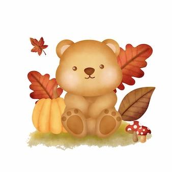 Animaux des bois d'automne aquarelle avec ours mignon