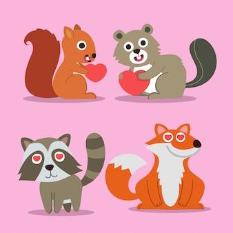 Animaux cartoon icônes avec écureuil, renard et ratons laveurs.