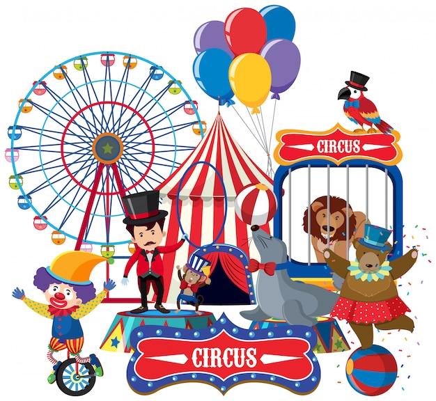 Animaux de cirque et maître de bague