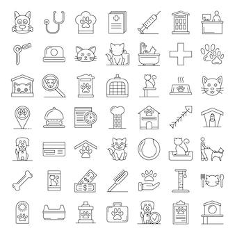Animaux de compagnie hôtel ensemble d'icônes, style de contour