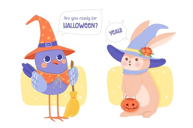 Animaux déguisés en costumes d'halloween