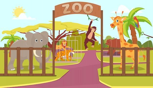 Animaux derrière la clôture et le signe du zoo