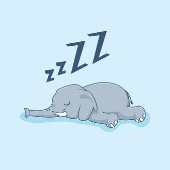 Animaux de dessin animé d'éléphant paresseux dormir