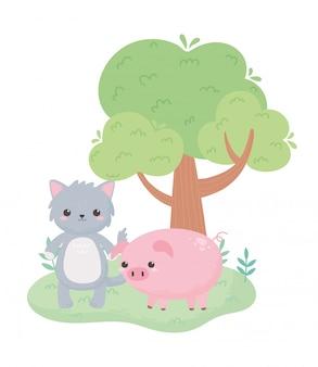 Animaux de dessin animé mignon chat gris piggy et arbre dans un paysage naturel