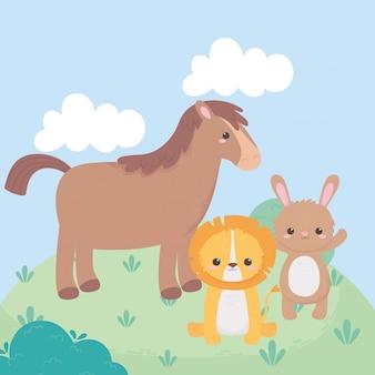 Animaux de dessin animé mignon cheval lion et lapin prairie dans un paysage naturel