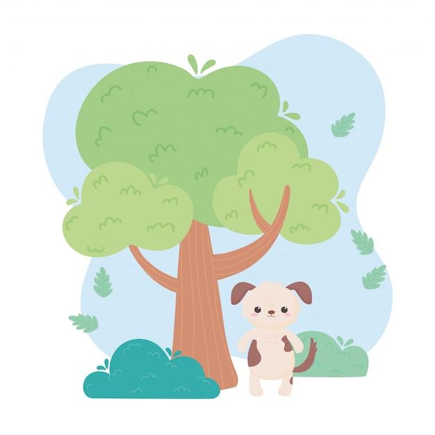Animaux de dessin animé mignon chien arbre herbe dans une illustration vectorielle de paysage naturel