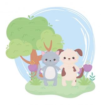 Animaux de dessin animé mignon chien et chat arbre fleurs dans un paysage naturel