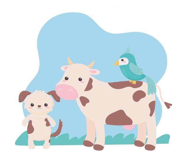 Animaux de dessin animé mignon chien vache et perroquet dans un paysage naturel