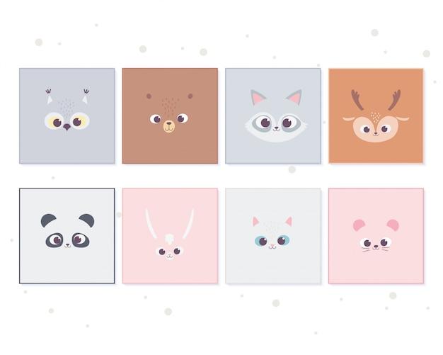Animaux de dessin animé mignon face à la décoration de bannière pour animaux de compagnie sauvages