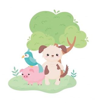 Animaux de dessin animé mignon perroquet chien piggy tree feuillage dans un paysage naturel