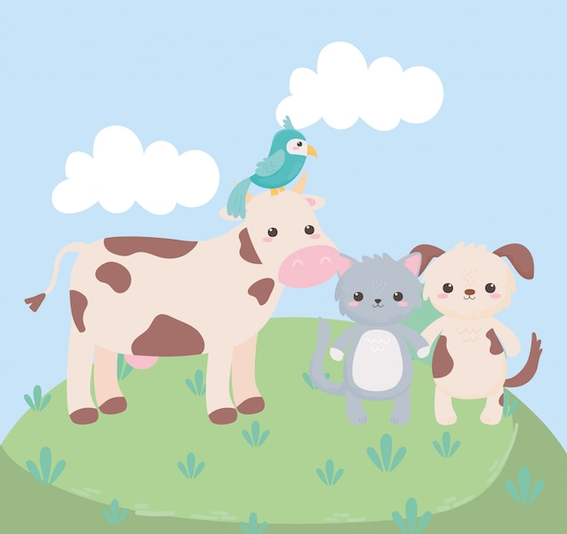 Animaux de dessin animé mignon vache chat chien perroquet herbe dans un paysage naturel