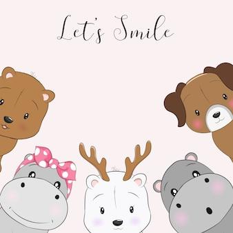 Animaux de dessin animé mignons sourire