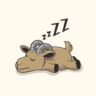 Animaux de dessin animé de sommeil de chèvre paresseux