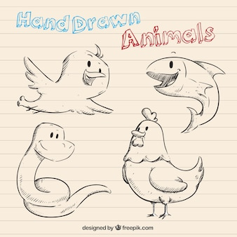Animaux dessinés à la main dans un style de bande dessinée