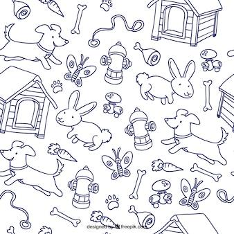 Animaux dessinés à la main motif
