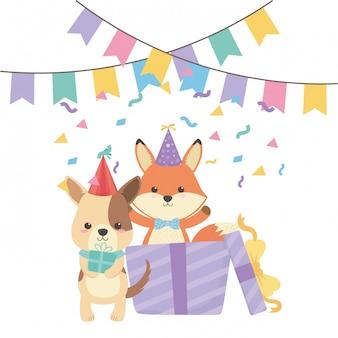 Animaux dessins animés avec joyeux anniversaire