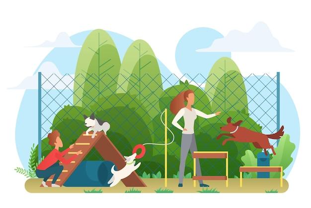 Animaux domestiques s'entraînant et jouant avec les gens