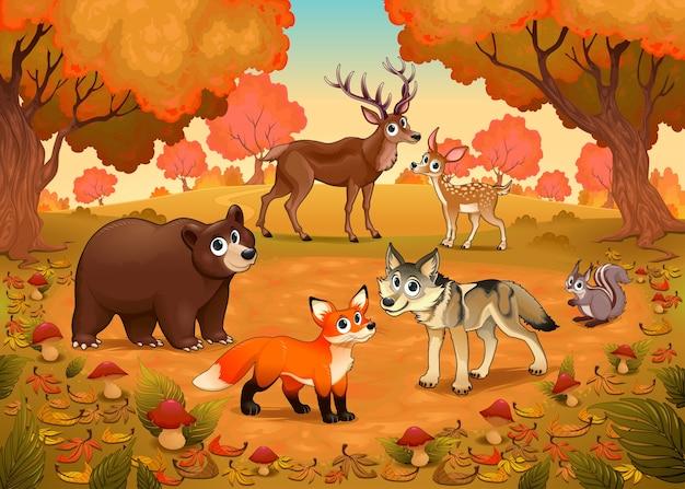 Animaux drôles dans le bois vector cartoon illustration