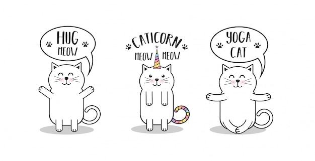 Animaux drôles de dessin animé chats