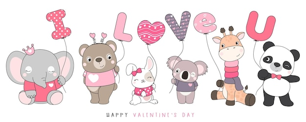 Animaux drôles mignons de griffonnage pour l'illustration de la saint-valentin