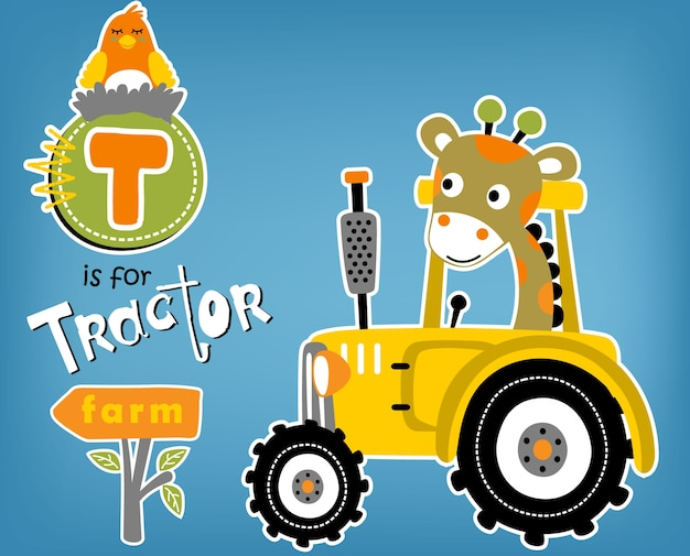 Animaux drôles avec tracteur