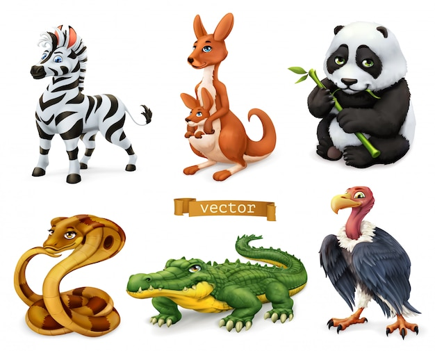 Animaux drôles. zèbre, kangourou et ours, serpent cobra, crocodile, vautour. jeu d'icônes 3d