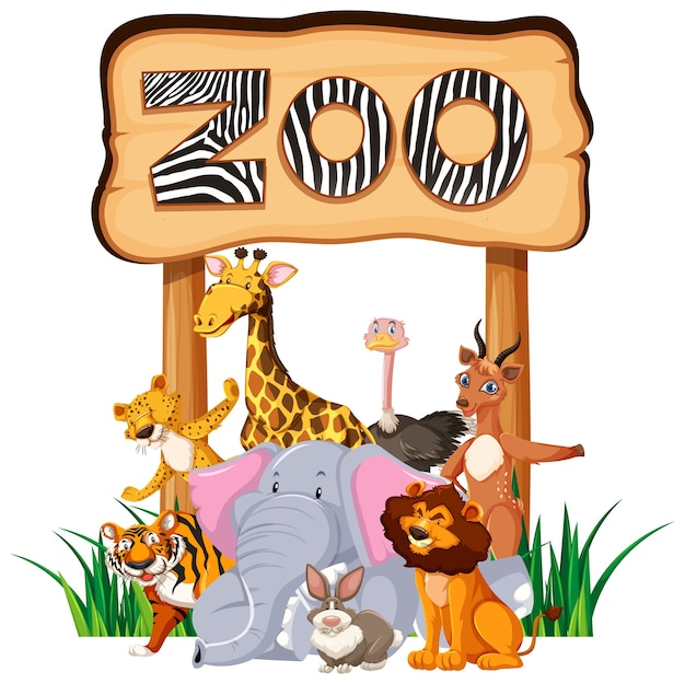 Animaux du zoo au panneau d'entrée