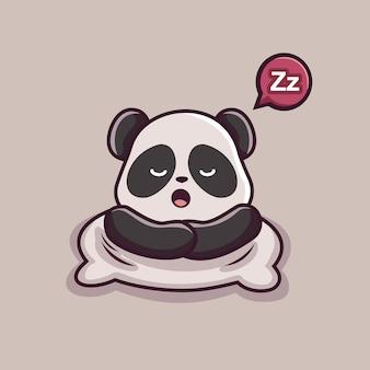 Animaux endormis de dessin animé panda paresseux