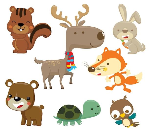 Animaux ensemble dessin animé cerf écureuil lapin renard ours tortue et hibou
