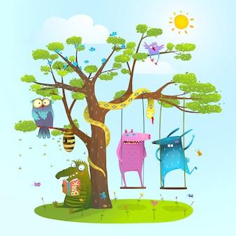 Animaux d'été mignons amis jouant sous l'arbre, se balançant, lisant.