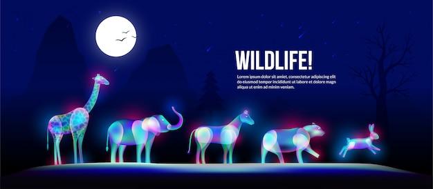 Animaux De La Faune Sous Foolmoon Dans Un Style Art De Lumière Fantastique. Vecteur Premium