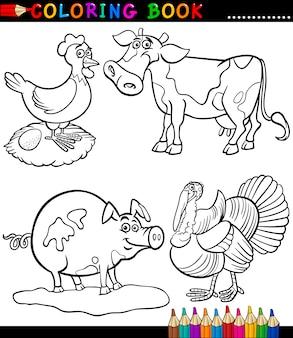 Animaux de la ferme de dessin animé pour cahier de coloriage