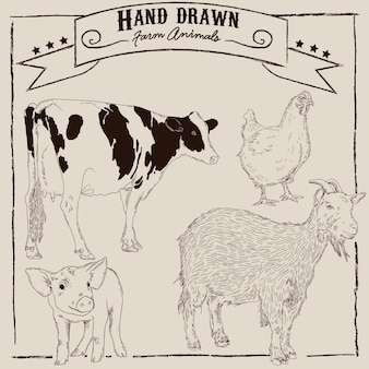Animaux de ferme dessinés à la main
