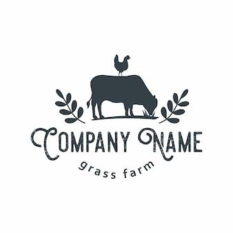 Animaux de la ferme emblème rustique retro logo vector