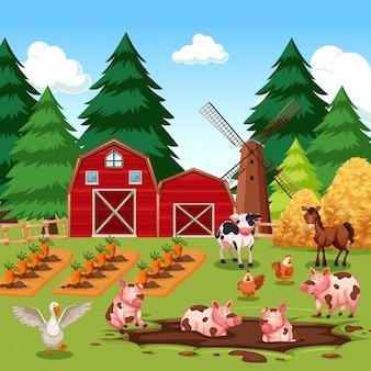 Animaux de la ferme heureux rural