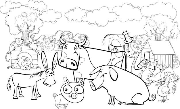Animaux de la ferme pour le livre de coloriage