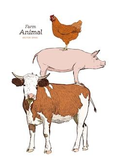 Animaux de la ferme. set vector vintage isolé. vache, cochon et poulet