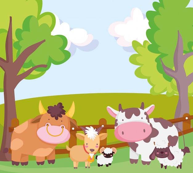 Animaux de ferme taureau vache chèvre mouton clôture arbres dessin animé