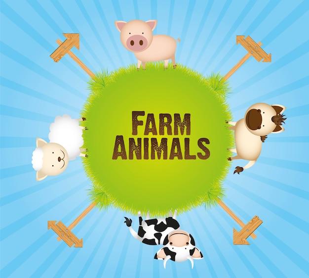 Animaux de ferme vache cheval mouton et cochon
