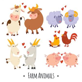 Animaux de ferme vecteur mignon: cochon, mouton, vache, chèvre, poule, coq
