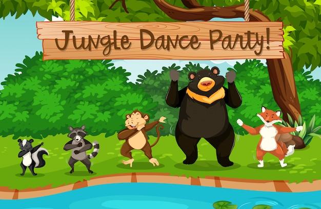 Animaux et fête de la danse dans la jungle