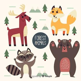 Animaux de la forêt amicaux dessinés à la main
