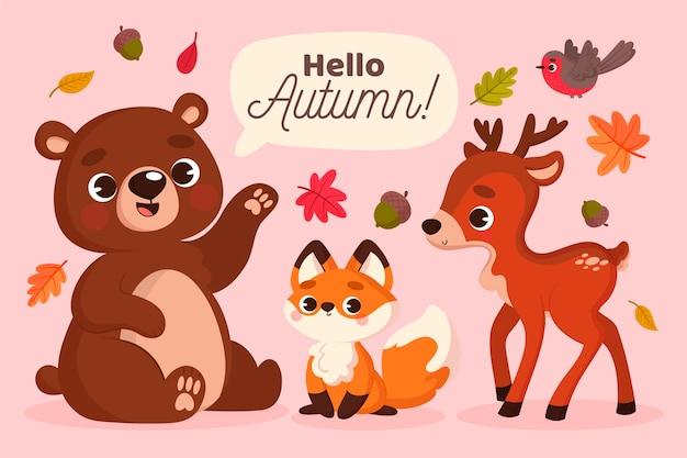 Animaux de la forêt d'automne au design plat