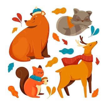 Animaux de la forêt d'automne design plat