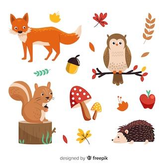 Animaux de la forêt automne dessinés à la main