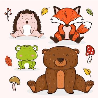 Animaux de la forêt d'automne
